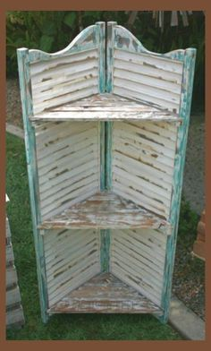 10 Ways You've Never Thought To Reuse Old Shutters - DIY Zero - Best Picture For shutters repurposed farmhouse For Your Taste You are looking for something, and - Refurbished Furniture, Repurposed Furniture, Shabby Chic Furniture, Furniture Makeover, Painted Furniture, Repurposed Shutters, Vintage Shutters, Rustic Furniture, Salvaged Doors