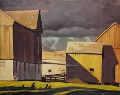 Barns at Twelve Mile Lake by Alfred Joseph Casson on Curiator, the world's biggest collaborative art collection. Group Of Seven Artists, Group Of Seven Paintings, Canadian Painters, Canadian Artists, Tom Thomson Paintings, Digital Museum, Art Studies, Landscape Paintings, Landscapes