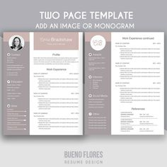 Two Page Resume Sample Professional Resume Template For Word  Two Page Resume  Cover .