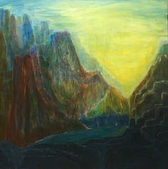 """""""Vale do Sol"""" - Acrílica sobre tela. Tamanho 100x100cm. Pintura de Rodrigo Maria"""