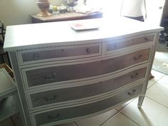 Antique dresser with a Linen silver finish! More chic than shabby