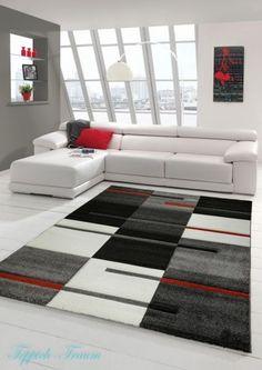 Tapis Moderne Poils RAS 3D Découpe DE Contour Rouge Gris Noir Blanc Beau Tapis | eBay