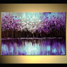 Canvas Art Modern Wall Art Stretched Embellished & Ready-to-Hang Print Reflection Art by Osnat XXL- Bilder Canvas Painting Landscape, Oil Painting On Canvas, Canvas Art, Knife Painting, Textured Painting, Forest Painting, Diy Canvas, Landscape Art, Reflection Art