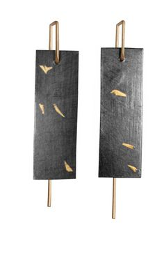 "Anne Bulmer Brewer Studio,  ""Kakejiku 3"" Earrings  Fine Silver, 22K Gold, 14K   Keum Boo, Fabrication, Patina"