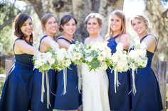 The beautiful bride and her bridesmaids. Floral design by Nina with By Request. www.byrequest.us Photo credit- Asia Croson Photography