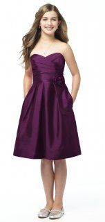 Alfred Sung Style JR506 Junior Bridesmaid Dress in Italian Plum