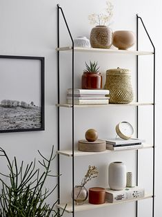 This Lea shelf from Danish brand Bloomingville is beautifully simple; its clean lines will fit perfectly into modern or Nordic decor. Decor, Shelves, Interior, Gold Kitchen Accessories, Shelving Unit, Home Decor, Wood Shelves, Interior Design, Shelving
