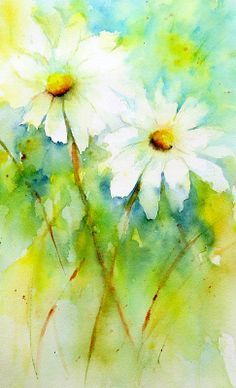 """chasingrainbowsforever: """" Daisy Duo ~ Watercolor Art by Lin Frye Source: https://www.flickr.com/photos/linfrye/13600707173/in/photostream/ """""""
