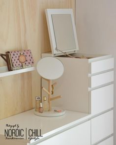 IKEA MALM 6 Drawer chest with mirror, white