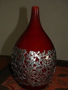 Welcome to the Okra Glass website Old Wine Bottles, Wine Bottle Art, Painted Wine Bottles, Diy Bottle, Pewter Art, Pewter Metal, Aluminum Foil Art, Creative Crafts, Diy And Crafts