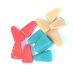 Czech triangle glass deco boho luxe style bead turquoise coral camel or black cobalt burgundy 16x10mm for DIY crafters & jewellery designers by ETELAGE on Etsy