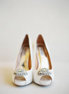 White wedding shoes with a touch of bling: http://www.stylemepretty.com/2015/04/08/glamorous-tented-sonoma-winery-wedding/ | Photography: Jen Huang - http://jenhuangphoto.com/