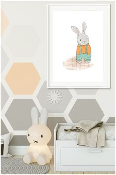 Bunny rabbits look gorgeous in kids bedrooms. This orange and teal print from Cheeky Chops Art goes really well in woodland, garden and pastel bedrooms. Bunny Nursery, Girl Nursery, Nursery Decor, Nursery Ideas, Baby Decor, Kids Decor, Home Decor, Decor Ideas, Woodland Decor