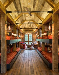 Rustic Bunk room with plenty of space for family and guests. Rustic Bunk room with plenty of space for family and guests. Cabin Homes, Log Homes, Haus Am See, Cabin In The Woods, Bunk Rooms, Rustic Interiors, Cabin Interiors, Cabana, My Dream Home