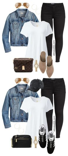 Plus Size Black Jeans Outfits - Alexa Webb Two plus size black skinny jeans outifts with basics: a denim jacket and white t-shirt with suede mules or trendy sneakers. Outfit Jeans, Denim Outfits, Mode Outfits, Fall Outfits, Casual Outfits, Fashion Outfits, Womens Fashion, Skinny Jean Outfits, Black Jeans Outfit Casual