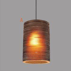 Kaufen (EU Lager)Landhaus Hängeleuchte 1-flammig Wellpappe mit Günstigste Preis und Gute Service!