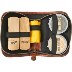 Keep your gentlemen looking his best with this shoe polish kit. He can carry the stylish case with him wherever he goes! Kit comes complete with soft and hard brushes, cleaning towel, shine and buff p