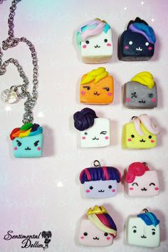 My Little Pony, MLP Jewelry, Kawaii My Little Pony Necklace, Kawaii Cube Charms, Kawaii Polymer Clay Charms