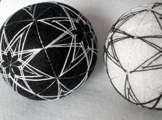 Japanese #temari balls black and white yin and by MonaSaadHandmade