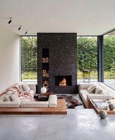 Sunken Living Room, Home Living Room, Living Room Designs, Living Room Decor, Bedroom Decor, Living Room Ideas Villa, Bedroom Modern, Cozy Bedroom, Kitchen Living