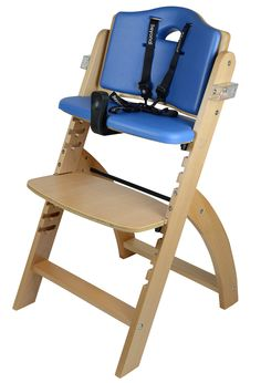 Amazon.com : Abiie Beyond Wooden High Chair with Tray.The Perfect Seating Highchair Solution for Your Child As Toddler's or a Dining Chair (6 Months & up) (Natural - Blueberry Blue Cushion) : Baby