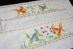 Jogo de toalhas pintado a mão