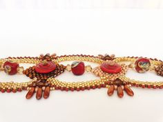 Rich Red and Gold Beadweaving Bracelet by dorothydomingo on Etsy, $85.00