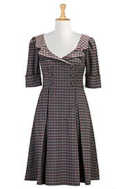 Faux double breasted plaid dress
