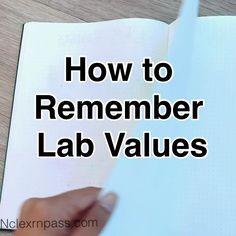 Nclex Lab Values, Nursing Lab Values, Nursing Labs, Nursing Study Tips, Rn School, Life Hacks For School, Medical School, Nursing Student Organization, Nursing School Motivation