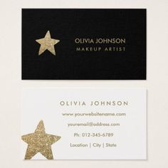 Faux Glitter Star | Makeup Artist Business Cards - glitter glamour brilliance sparkle design idea diy elegant