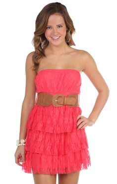 Deb Shops #coral all over #floral lace leatherette belted triple tiered #dress