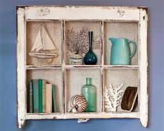 Coastal Wall Decor Ideas with Old Window Frames - Coastal Decor Ideas Interior Design DIY Shopping Old Window Decor, Old Window Frames, Window Ideas, Window Shelves, Window Wall, Old Window Projects, Home Projects, Coastal Wall Decor, Old Windows