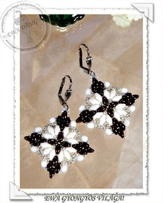 Loretta beaded earrings PDF pattern by EwaHotBeads on Etsy