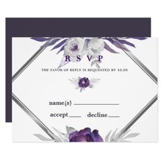 Plum and Silver Watercolor Bontanical Wedding RSVP Card - winter wedding diy marriage customize personalize couple idea individuel Wedding Rsvp, Wedding Pins, Diy Wedding, Wedding Response Cards, Wedding Stationary, Wedding Invitations, Autumn Wedding, Floral Style, Invitation Cards