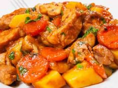 colombo pork cookeo - enjoy the delight of colombo in your . colombo pork with Cookeo, a delicious meat dish for your lunch, here is the easiest recipe to cook it. Slow Cooker Chicken Stew, Stew Chicken Recipe, Chicken Recipes, Cooked Chicken, Chicken Casserole, Chili Recipes, Slow Cooker Recipes, Crockpot Recipes, Cooking Recipes