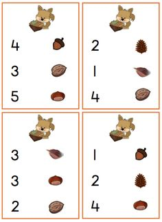 Panier d'automne Autumn Activities For Kids, Math For Kids, Toddler Activities, Number Activities, Montessori Math, Fall Is Here, Working With Children, Easter Crafts, Squirrel
