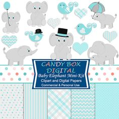 Boy Baby Elephant Clipart and Digital Paper Mini Kit by CandyBoxDigital. Great clip art and digital papers for baby showers, or for digital scrapbooks and journals, blogs and websites, graphic designs, invitations, and all kinds of paper craft applications. At our Etsy shop.