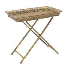 METAL TRAY TABLE IN GOLD COLOR 57X36X53 - Coffee Tables - FURNITURE