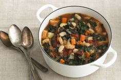 This sounds fantastic until you get to the 'stale bread' part! Yikes! Ribollita was originally peasant food, a vegetable stew, invented to stretch leftover minestrone. The soup was so delicious and satisfying, Ribollita eventually morphed into a dish in its own right. It begins with sauteed carrot, onion, celery and garlic to which are added canned tomatoes, chopped greens and cannellini beans, and is finished with chunks of stale bread to thicken the soup and to soak up the goodness.