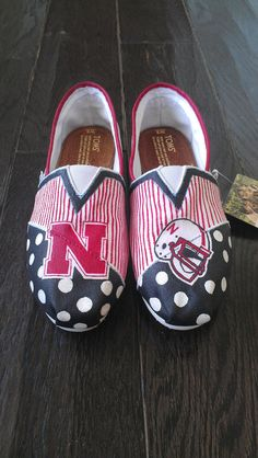 Collegiate/Team TOMS Custom  Nebraska Huskers by LaQuist, $90.00 -- What a great way to show team spirit!