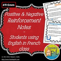 This product contains something useful for French as a Second Language teachers everywhere, no matter their program (core, extended, immersion, intensive or something else). There are both positive reinforcement notes and warning notes to be sent home to encourage ongoing efforts to use the target language in the classroom.I've included a full page and four-to-a-letter-sized sheet version for congratulating a student on their efforts to speak French, and for multiple warning levels (10…