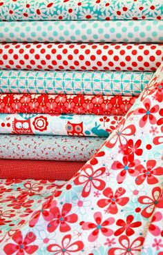 Love this cheery red and aqua fabric!