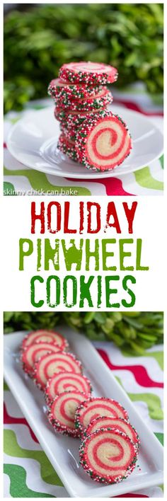 Holiday Pinwheel Cookies | Festive sugar cookies with spiraled red and white dough and holiday sprinkles! #holiday #christmas