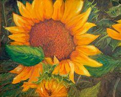 TWO SUNFLOWERS Original Oil Painting of Solvang by KrugsStudio, $499.99