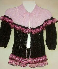 Suéter café con rosa