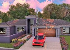 5 Bedroom House Plan MLB-1815D – My Building Plans South Africa My Building, Building Plans, Architect Design House, House Design, 6 Bedroom House Plans, Double Garage, Open Plan, South Africa, Mlb