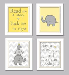 Nursery Quad, Pink and Grey Nursery, Elephant Nursery, Set of 4 Pink, Grey by ChicWallArt on Etsy Pink And Gray Nursery, Nursery Neutral, Pink Grey, Yellow Nursery Decor, Brown Nursery, Neutral Nurseries, Blue, Nursery Themes, Nursery Room
