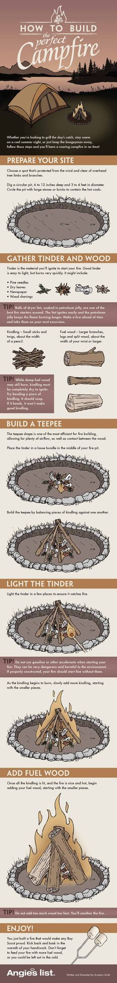Campfire Infographic | How to Build the Perfect Campfire | Your Ultimate Guide For The Best Camping Experience Ever! | Fun Outdoor Activities by Survival Life at http://survivallife.com/campfire-infographic/