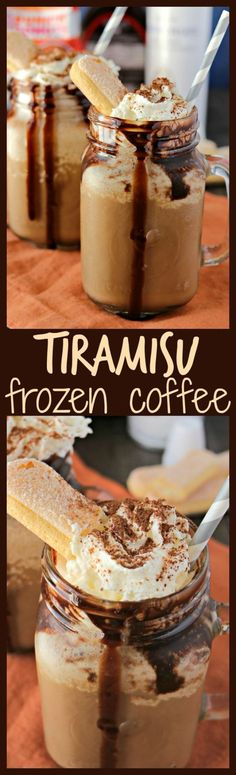Tiramisu Frozen Coffee - Make your morning coffee even more exciting with a boost from the flavors of tiramisu. Made with double-strength coffee milk creamy marscapone cheese crushed ladyfingers chocolate syrup and crushed ice this tiramisu frozen c Weight Watcher Desserts, Iced Coffee, Coffee Drinks, Coffee Milk, Coffee Art, Hot Coffee, Espresso Coffee, Black Coffee, Coffee Logo