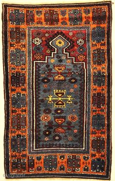 "Antique Turkish Rare Prayer Rug, some synthetic color 2'7"" x 4'4"""